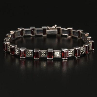 Sterling Silver Garnet and Marcasite Bracelet