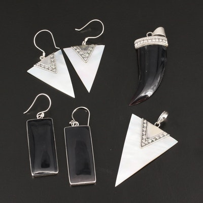 Sterling Mother of Pearl and Black Onyx Earrings and Pendants