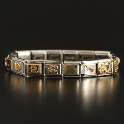 Stainless Steel Italian Charm Bracelet Including American Flag and Heart Links