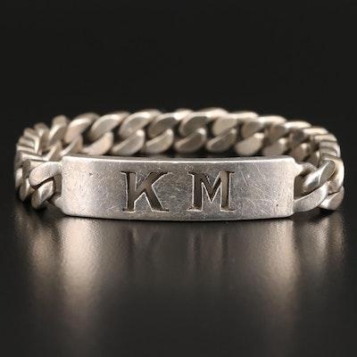 950 Silver Pierced ID Bracelet