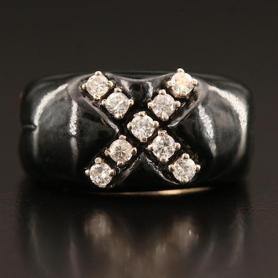 14K Diamond and Enamel Ring