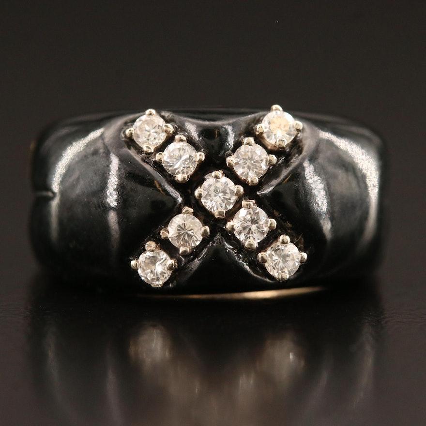 14K Diamond and Enamel Ring