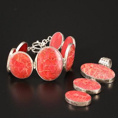 Sterling Graduated Coral Bracelets