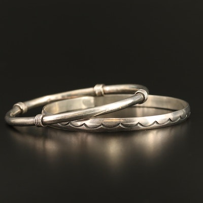 Sterling Silver Bangles Featuring Stampwork Wave Pattern