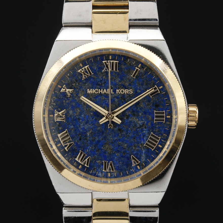 Michael Kors Channing Lapis Lazuli Dial Two Tone Stainless Steel Wristwatch