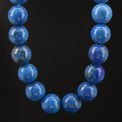 Lapis Lazuli Necklace with Sterling Cannetille Clasp