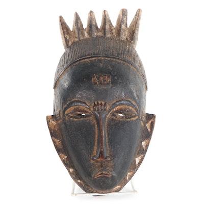 Baule-Yaure Style Carved Wood Mask, Côte d'Ivoire