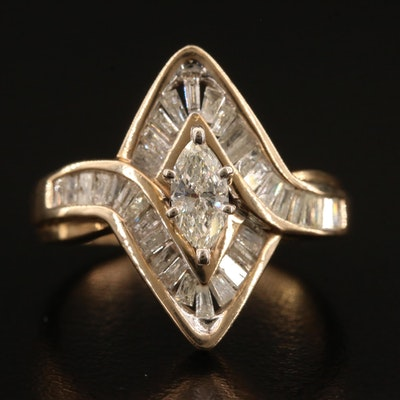 10K 1.00 CTW Diamond Navette Ring