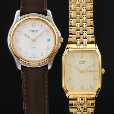 Tissot Two Tone and Citizen Gold Tone Quartz Wristwatches