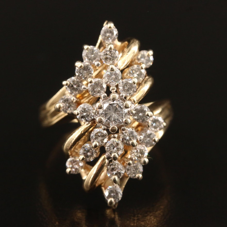 14K 1.80 CTW Diamond Openwork Ring Featuring Bypass Design