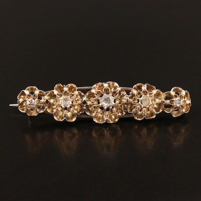Early Victorian 14K and Sterling Silver Diamond Bar Brooch