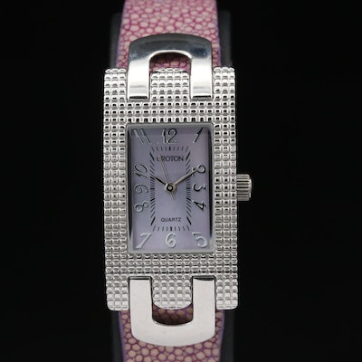 Croton Pink Mother of Pearl Dial Stainless Steel Quartz Wristwatch