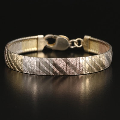 Sterling Textued Omega Chain Bracelet