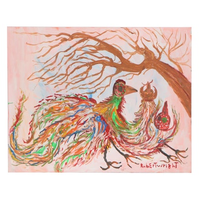 Robert Wright Folk Art Acrylic Painting of Chickens
