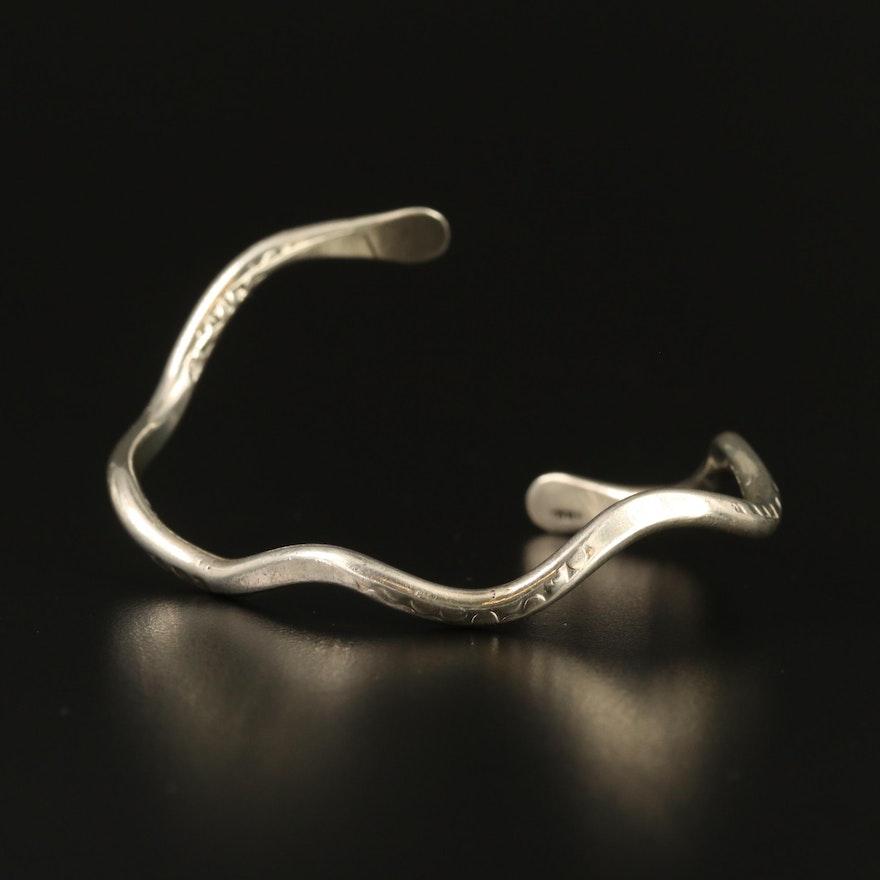 Sterling Silver Wavy Cuff