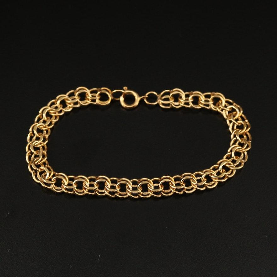 Gold Filled Double Link Charm Bracelet