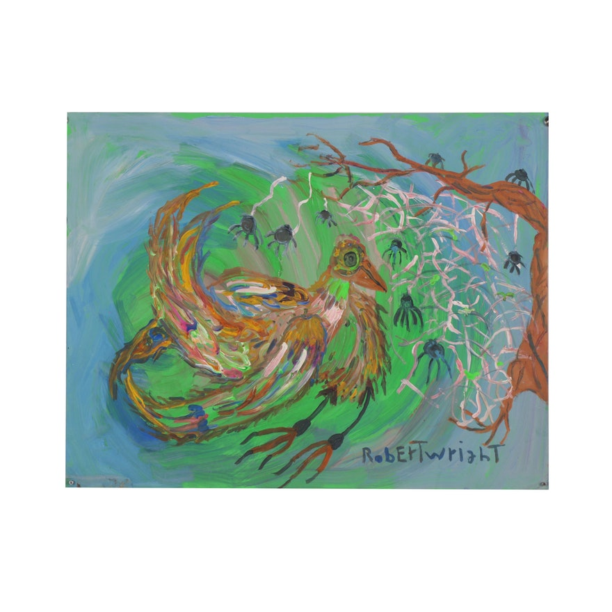 Robert Wright Abstract Acrylic Painting of Bird and Spiders