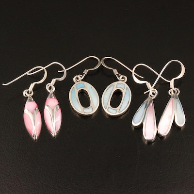Sterling Silver and Mother of Pearl Inlay Dangle Earrings
