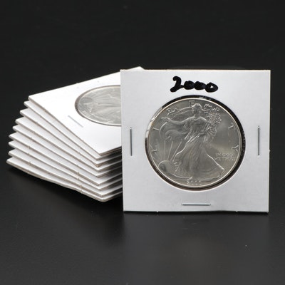 Ten American Silver Eagle Dollar Bullion Coins, 2000 – 2009