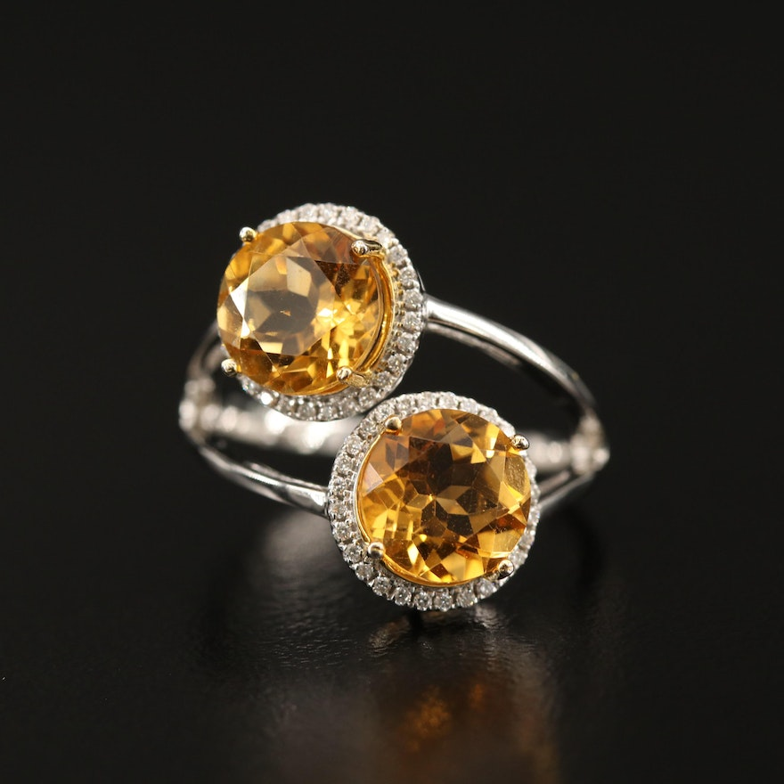 14K Citrine and Diamond Halo Ring with Split Shank