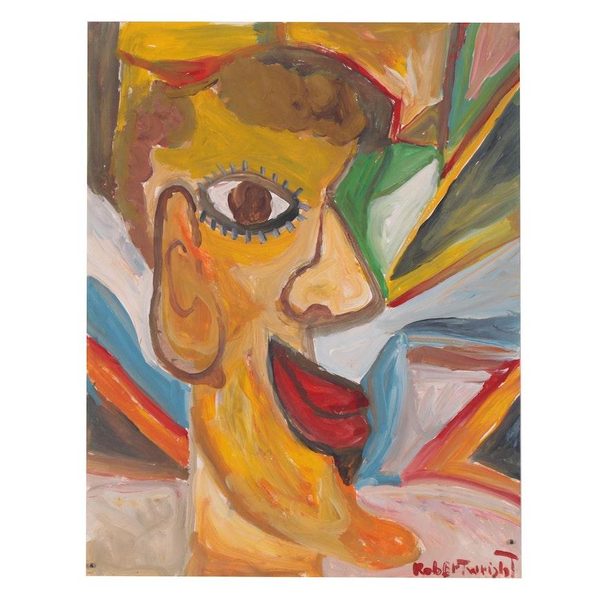Robert Wright Folk Art Acrylic Painting of Figure