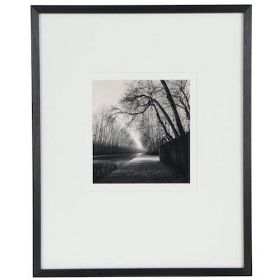 """Michael Kenna Silver Print """"Light on Water, Courances, France,"""" 1997"""