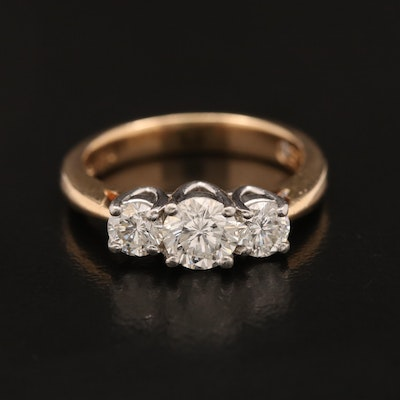 14K Leo Three Diamond Ring with Platinum Top