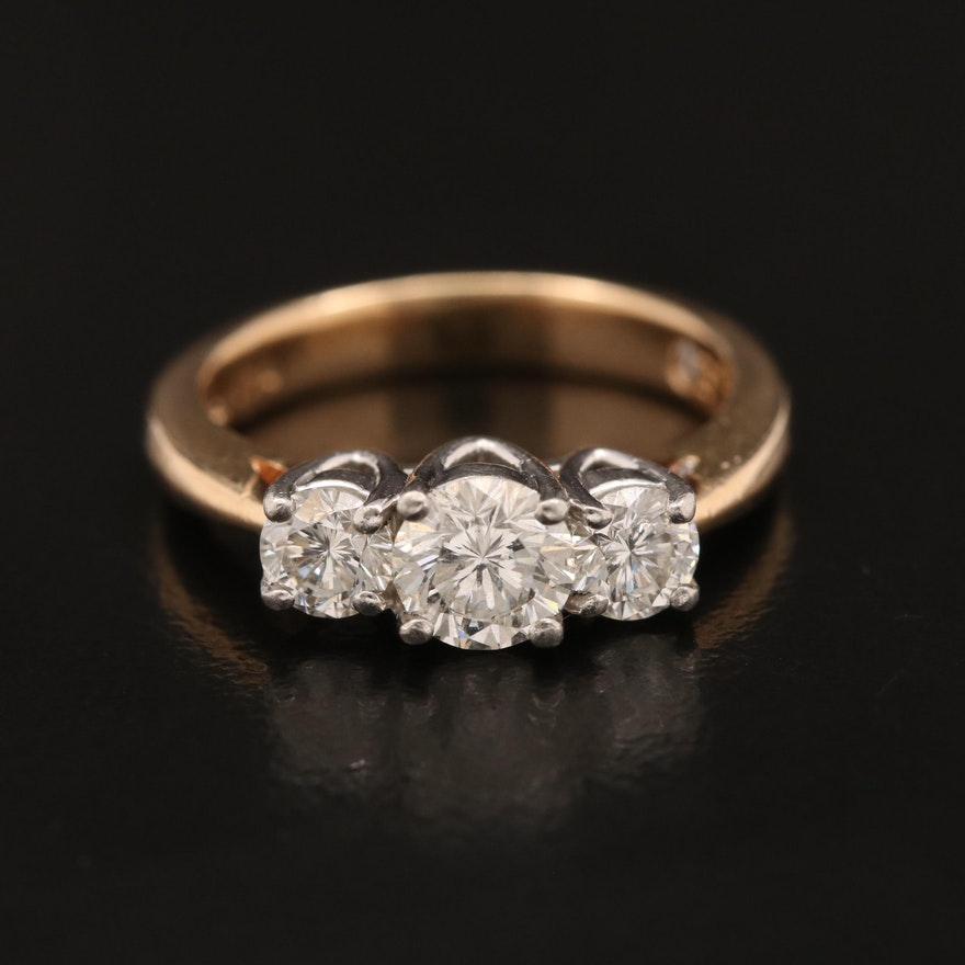 14K Leo Three Diamond Ring with Platinum Top