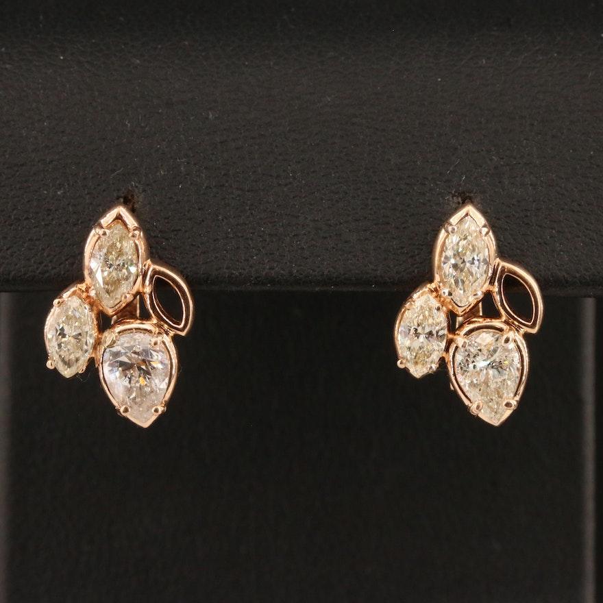 14K Rose Gold 2.20 CTW Diamond Cluster Earrings