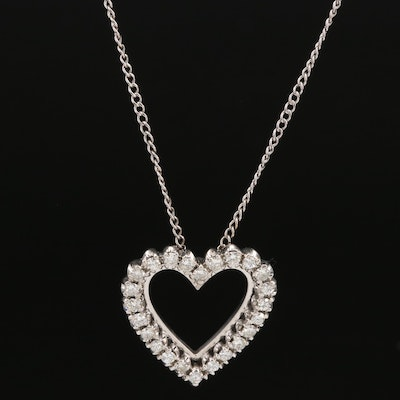 14K Diamond Heart Pendant on 10K Curb Chain Necklace
