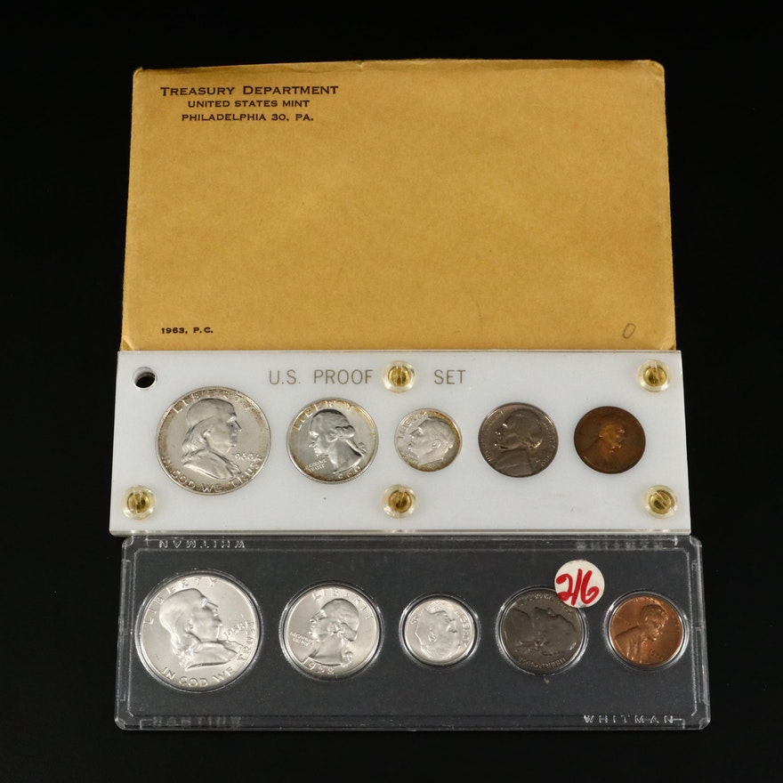 1958, 1960 and 1963 Proof Coin Sets