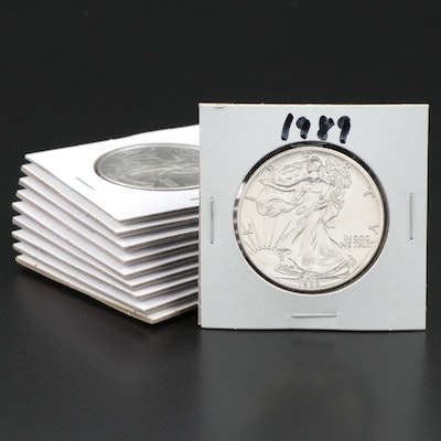 Ten 1989 American Silver Eagle Dollar Bullion Coins