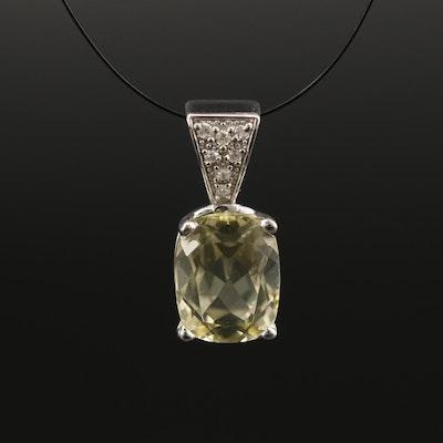 14K Citrine and Diamond Pendant