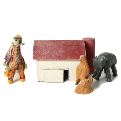 Folk Art Handmade Animal Figures and Barn Birdhouse, Mid to Late 20th Century