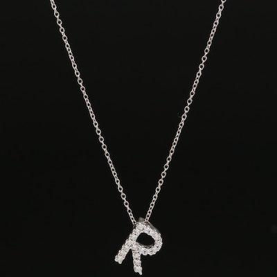 """14K Diamond Monogram """"R"""" Necklace"""