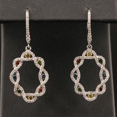 14K 1.64 CT Multi-Colored Diamond Drop Earrings