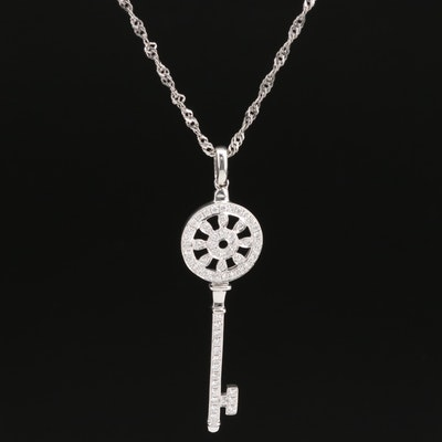 14K Diamond Key Pendant on Sterling Singapore Chain Necklace