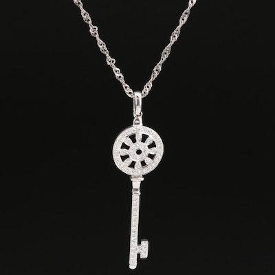 14K Diamond Key Pendant on Sterling Singapore Chain Necklace
