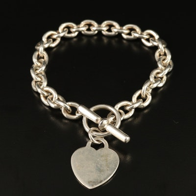 Sterling Silver Cable Chain Bracelet with Heart Tag
