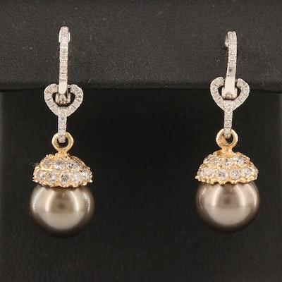 14K Pearl and 1.25 CTW Diamond Drop Earrings