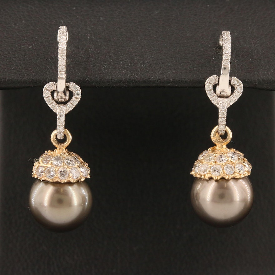 14K Pearl and 1.25 CTW Diamond Drop Earrings