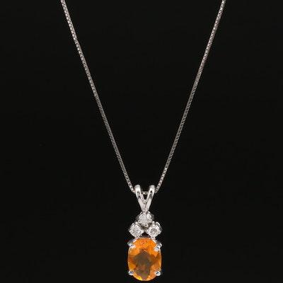 14K Fire Opal and Diamond Necklace