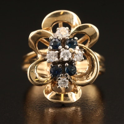 Vintage 14K Sapphire and Diamond Open Work Floral Ring