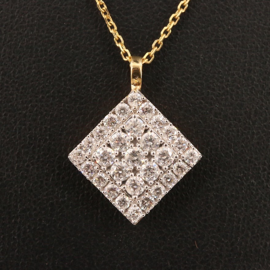 10K and 14K Tiered 1.52 CTW Diamond Grid Necklace