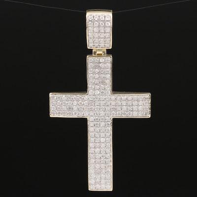 10K Gold 2.25 CTW Diamond Cross Pendant