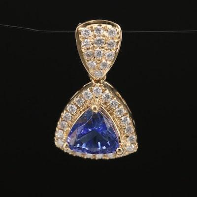 14K Tanzanite and Diamond Triangular Pendant