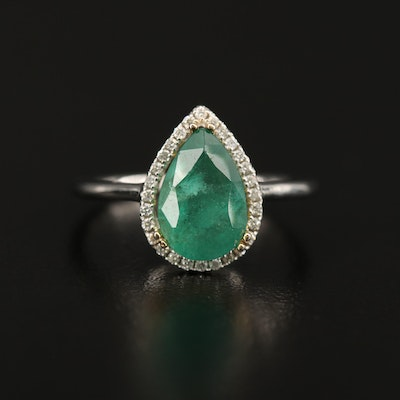 14K 1.84 CT Emerald and Diamond Teardrop Ring