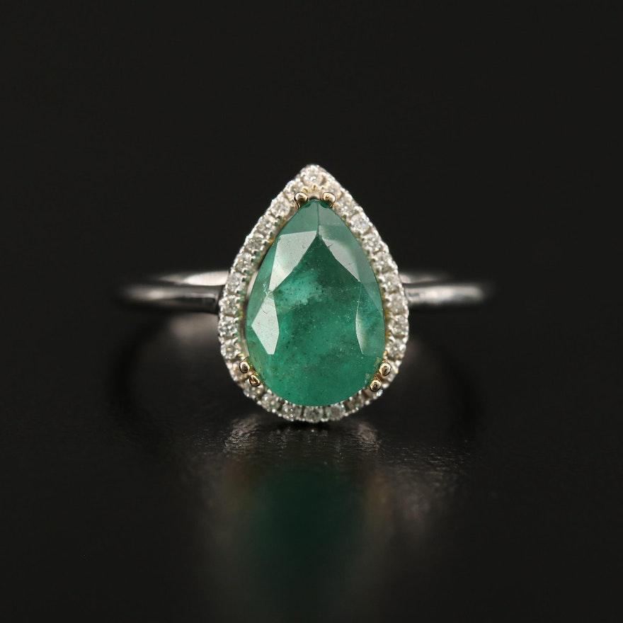 14K 1.84 CT Emerald and Diamond Teardrop Ring