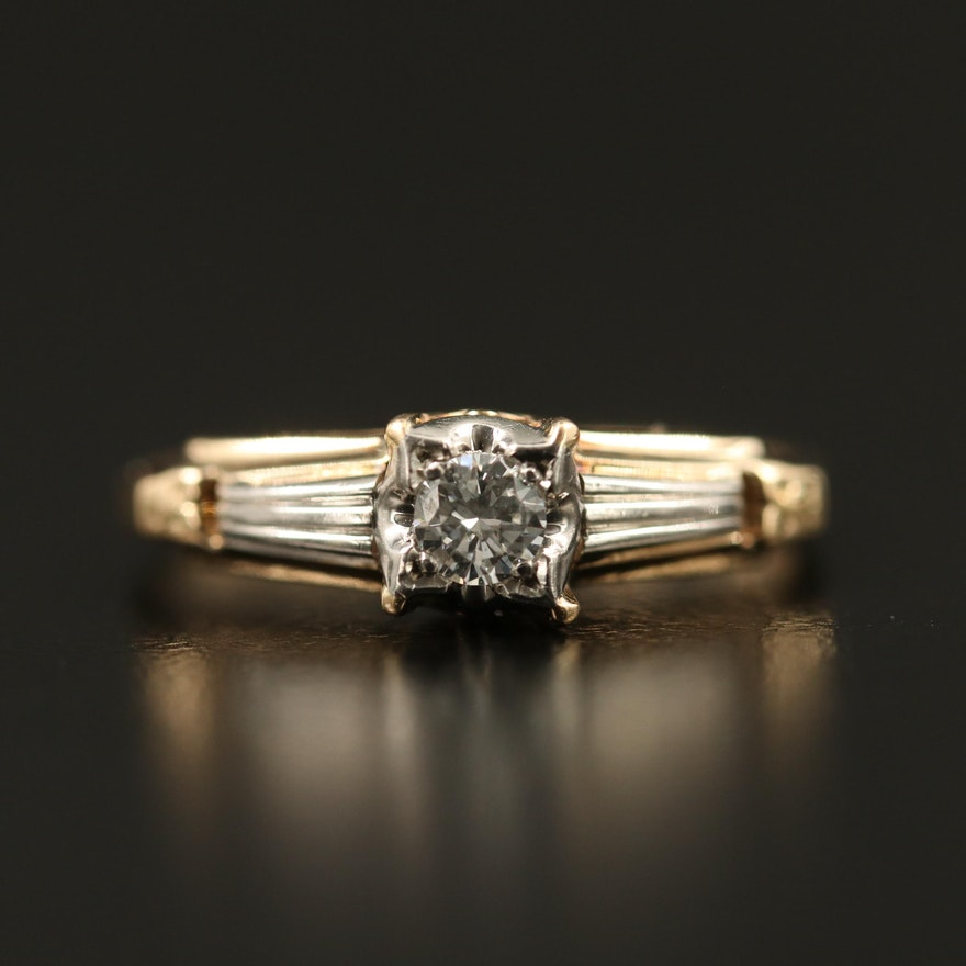 1930s Granat Brothers 14K 0.11 CT Diamond Solitaire Ring with Palladium Accent