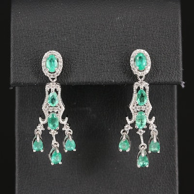 Sterling Silver Emerald and Zircon Drop Earrings